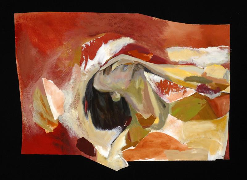 """Sans titre / Untitled, 2007, 33"""" x 45"""" / 85 x 11 cm.  Acrylic, charcoal and collage on canvas / Acrylique, fusain et collage sur toile Photo: Réal Capuano."""