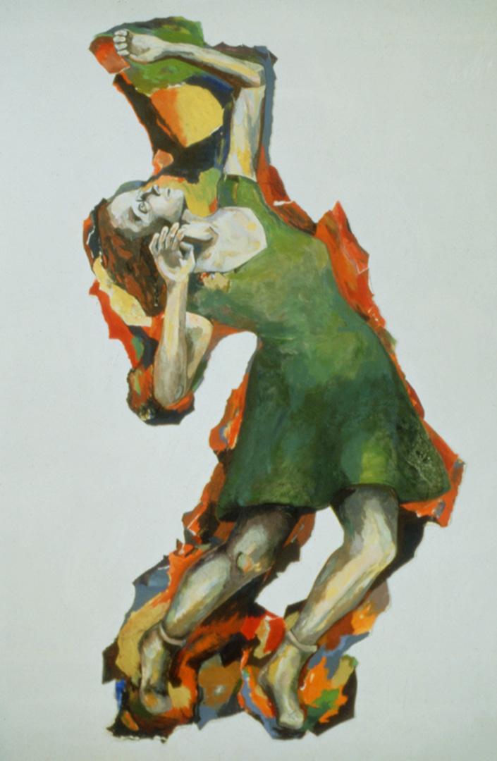 """Pétrification, 1997, 188 x 145 cm - 74"""" x 57"""", acrylique et collage sur papier - acrylic and collage on paper."""
