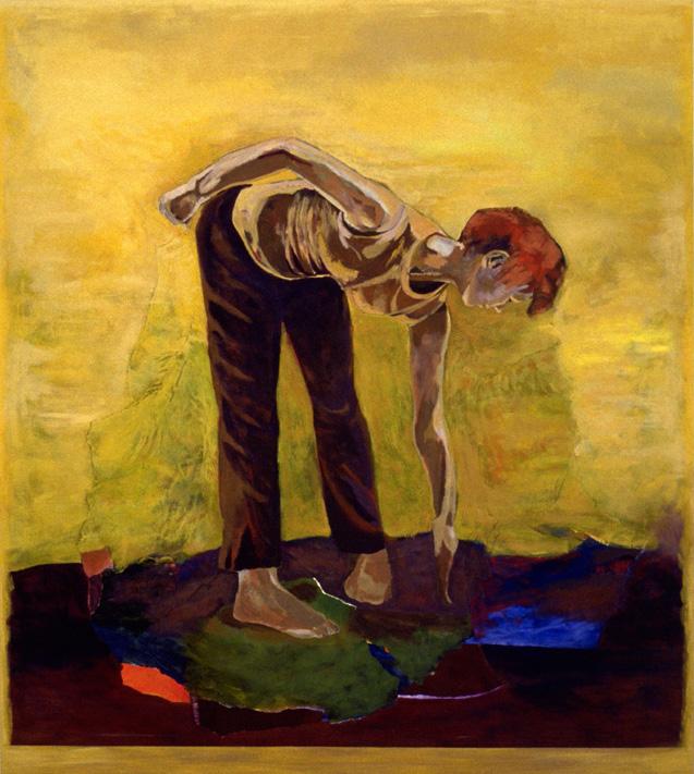 """Narcisse et la mare - Narcissus, 2002, 150 x 200 cm - 59"""" x 79"""", acrylique et collage sur toile - acrylic and collage on canvas. Photo: Éliane Excoffier"""