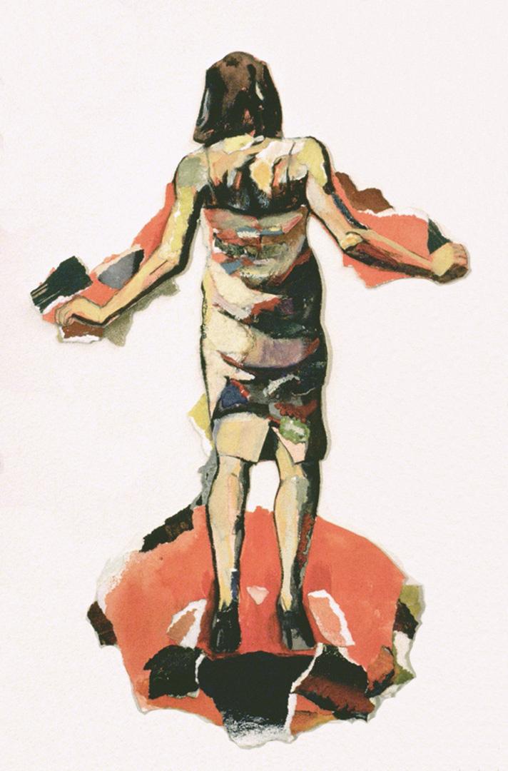 """Corps de contrainte II, 1995, 35 x 22 cm - 14"""" x 8.5"""",  techniques mixtes sur papier - mixed media on paper."""