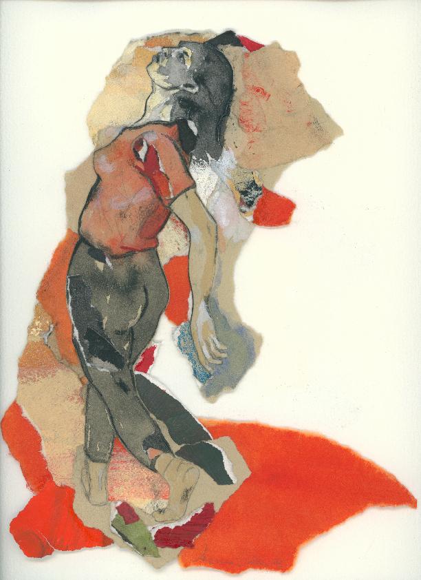 Corps de contraine I, d'après Delacroix, 1995, 28 x 22 cm, techniques mixtes sur papier.