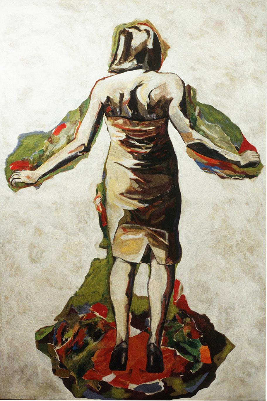 """Corps de contrainte II, 1996, 234 x 160 cm - 92"""" x 63"""",  acrylique et collage sur toile - acrylic and collage on canvas."""