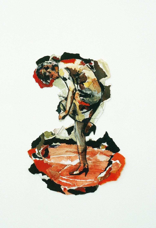 """Corps D'attention I, 1995, 27 x 20 cm - 10.5"""" x 8"""",  techniques mixtes sur papier - mixed media on paper."""
