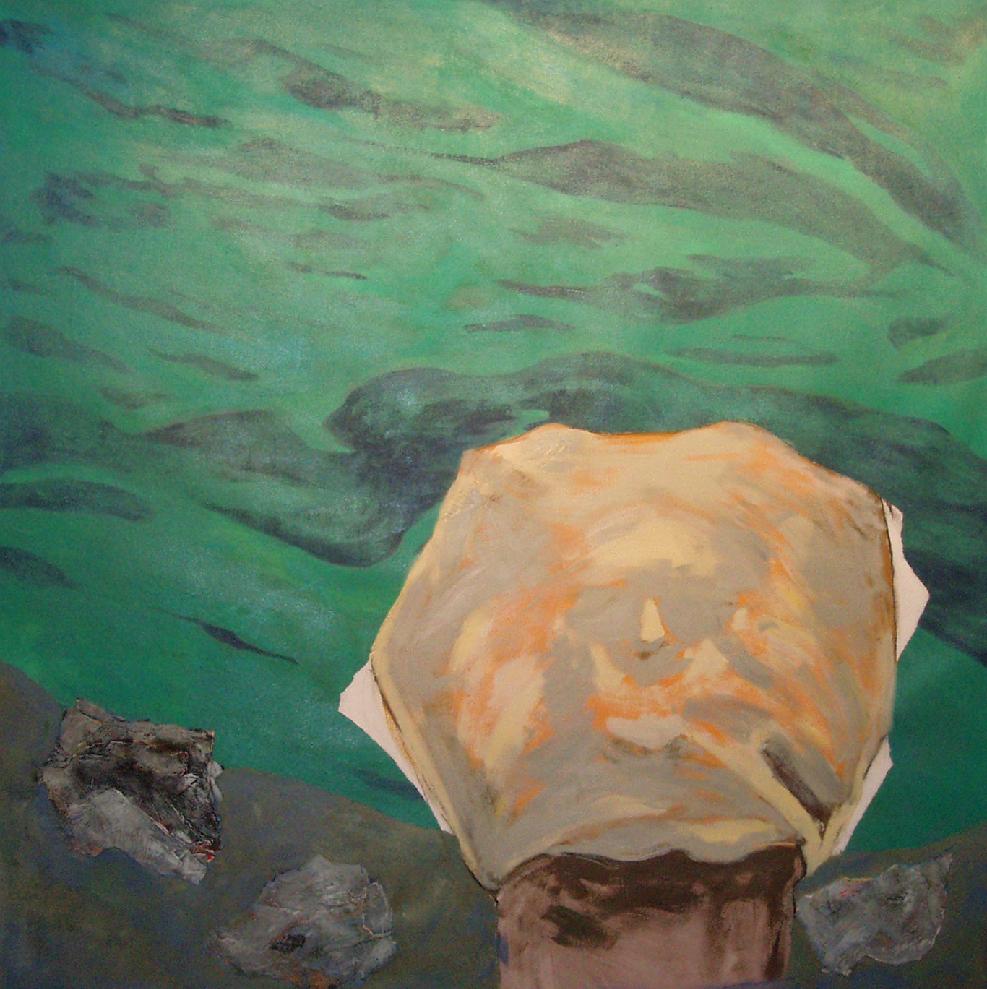 "Baignade interdite, 2011, 122 x 122 cm - 48"" x 48"" , techniques mixtes sur toile - Mixed media on canvas.   Photo: Réal Capuano"