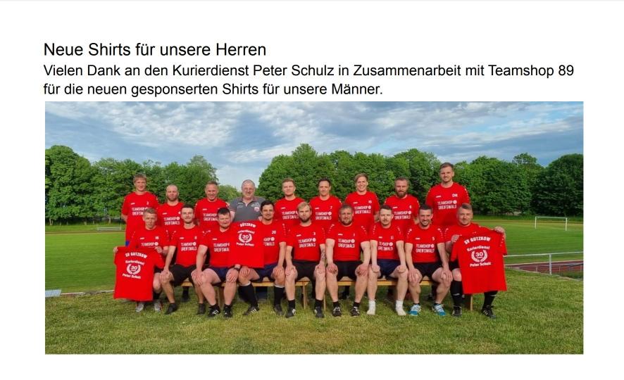 Neue Shirts für die Männer. Vielen Dank an das Transportunternehmen Schulz.