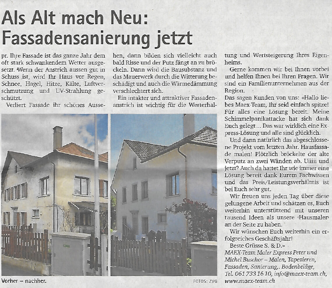 Fassadensanierung Haus. Oberbaselbieter Zeitung 28.3.2019