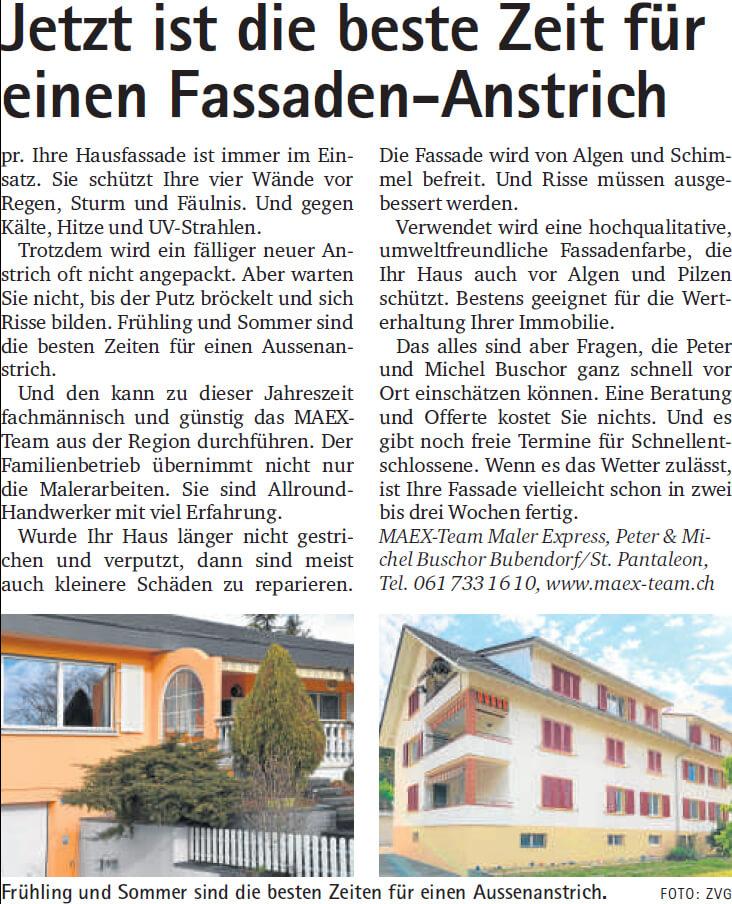 Fassadenanstrich Basel Land und Wochenblatt Schwarzbubenland, Oberbaselbieter Zeitung OBZ im Mai 2020