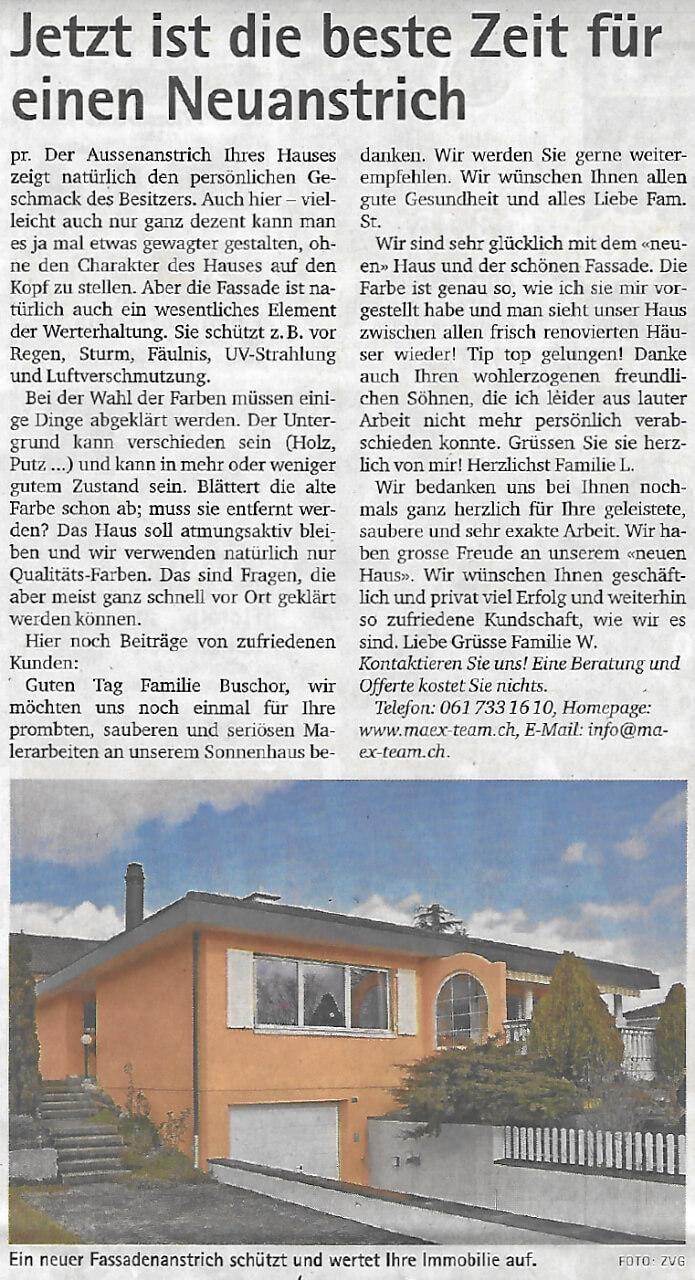 Fassadenanstrich schütz Ihr Haus, Bericht Oberbaselbieter Zeitung 14.06.2018