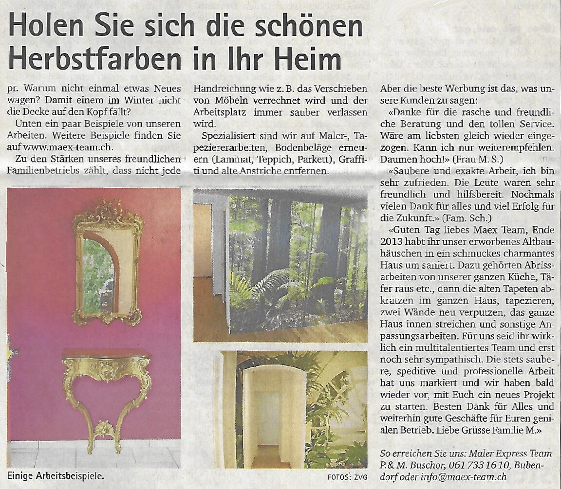 Herbstfarben Hausanstrich, Oberbaselbieter Zeitung 16.11.2016