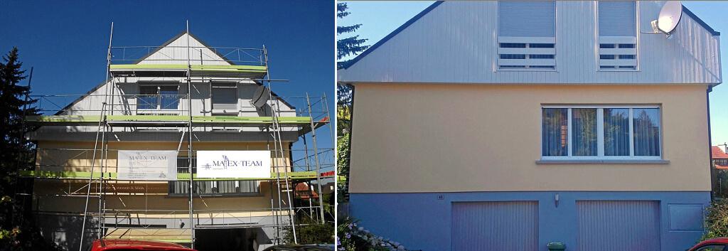 Vorher - nachher: Das MAEX-Team bringt ihr eigenes Rollgerüst für Fassaden und andere äussere Malerarbeiten mit.