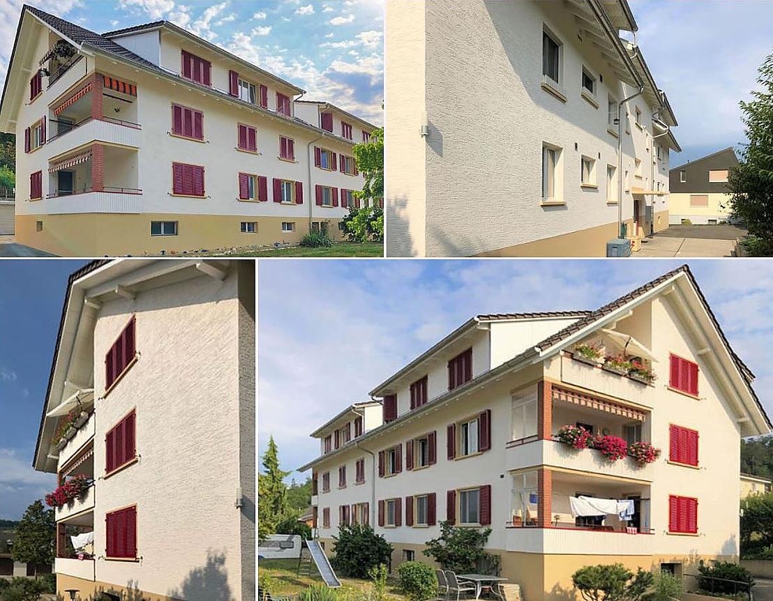 Fassadenanstrich, Fassadenreinigung und Fassadenreparatur an einem Mehrfamilienhaus