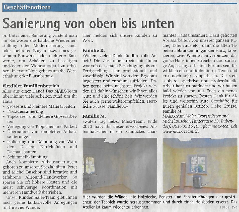Haussanierung von oben bis unten, Oberbaselbieter Zeitung 21.11.2019