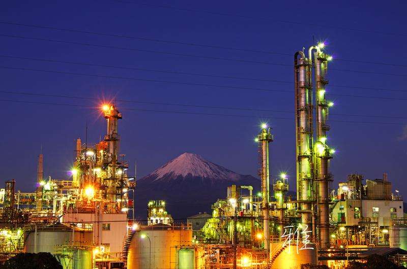 F34 工場夜景と富士山 清水区蒲原にて