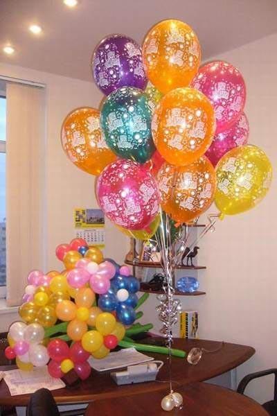 Один гелевый шарик с рисунком - 45 руб., букет из шаров - 400 руб.