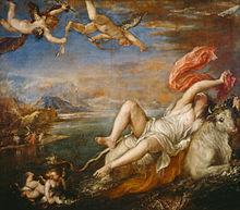 L'enlèvement d'Europe par le Titien (Tiziano Vecellio) 1559-1562. Wikipédia