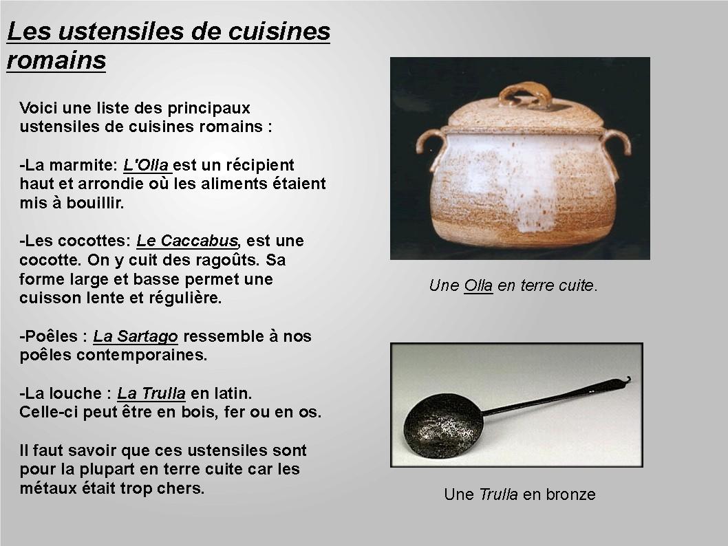 Alimentation lelatiniste site de fran ais et langues - Liste des ustensiles de cuisine ...