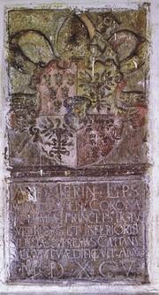 Tafel von 1595 am Eingang des Herrenhauses  (HR)