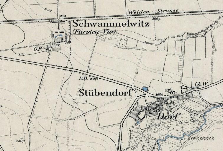 Topogr. Karte von 1896, Lage vor dem Staubeckenbau