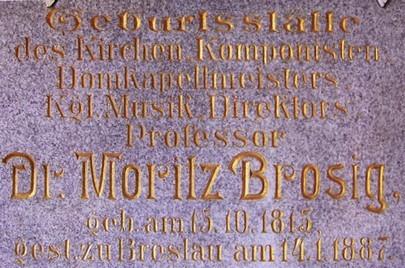 Gedenktafel an den Breslauer Domkapellmeister Moritz Brosig (HR)