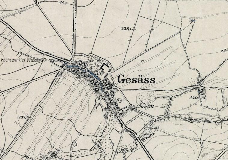 Topogr. Karte von 1896 (alte Schreibweise 'Gesäss')
