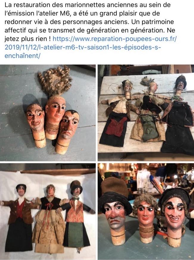 Marionnettes ancien Beauté à l'atelier M6 la Clinique Des Poupees Bordeaux
