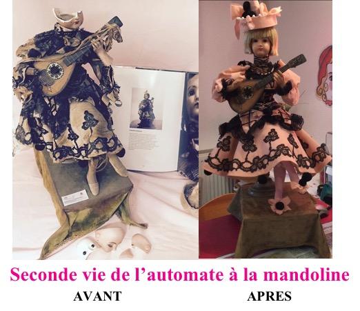 Avant et après restauration automate à la mandoline de La clinique des poupées - Bordeaux