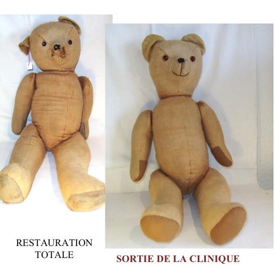 Ours ancien garnis de paille restauré par La clinique des poupées - Bordeaux