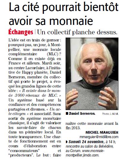 Article du Midi Libre du 8 Novembre 2012
