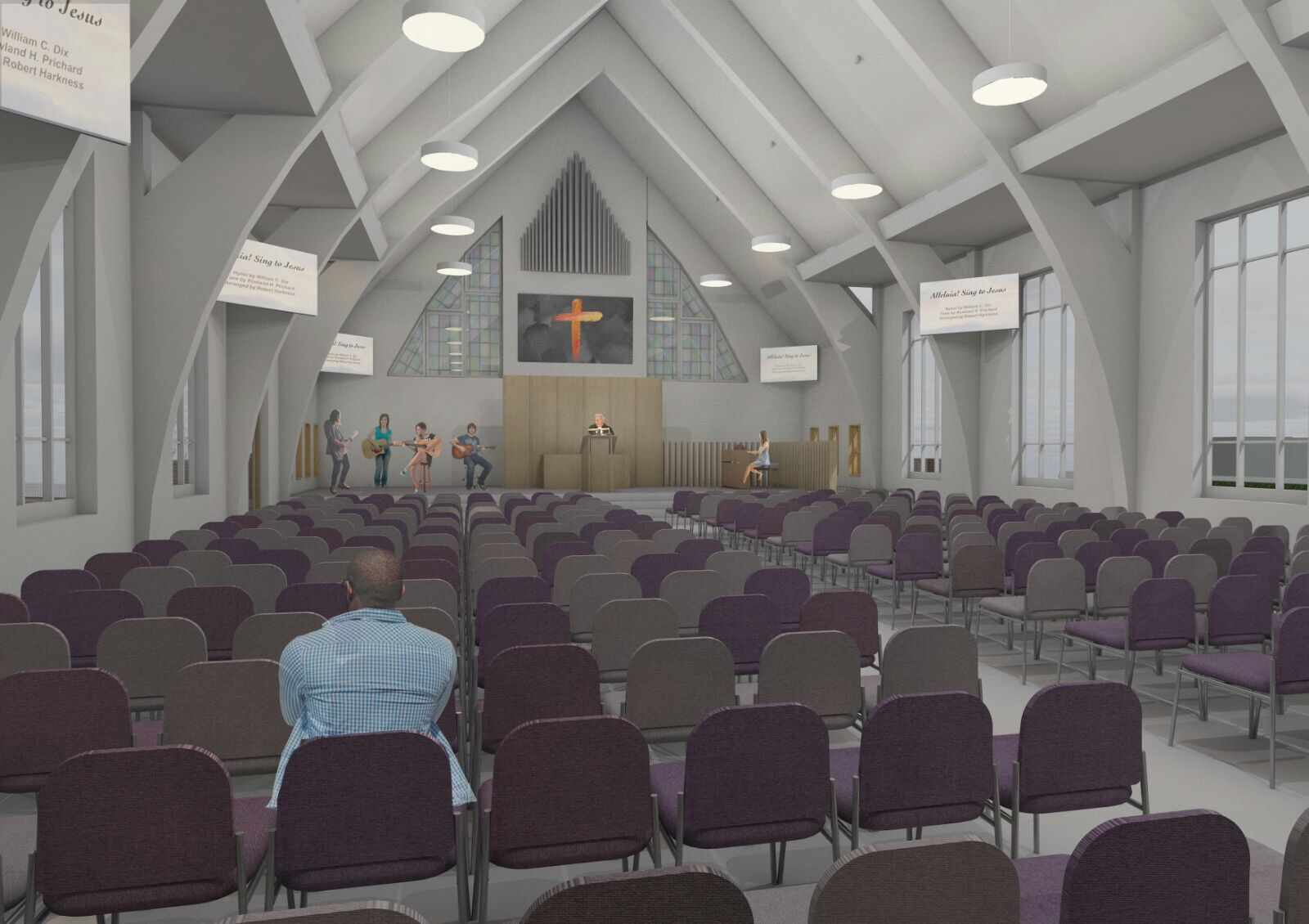 An architect's impression of the renovated sanctuary. Notable features include the larger platform at the front, disabled access to the stage, and stained glass feature windows. Note this is an artists impression which may change.