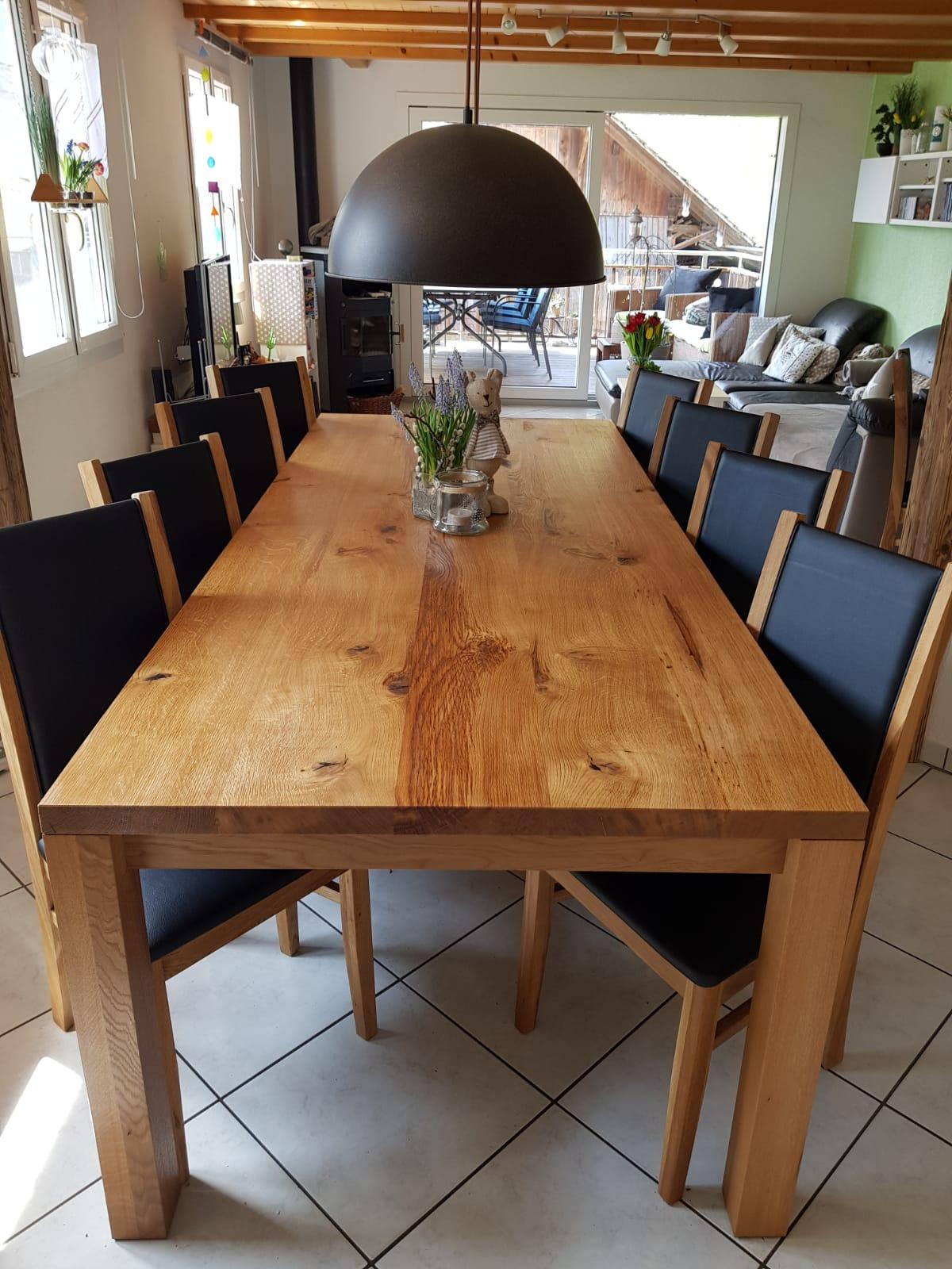 Tisch Eiche rustikal, schwarz gespachtelt, gebürstet & natur geölt