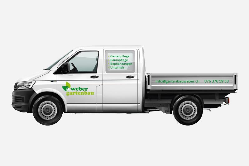 Gartenbau Weber Gestaltung der Fahrzeugbeschriftung