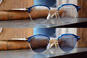 (上)通常仕様 (下)調光レンズによるサングラス仕様