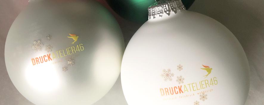 Druckatelier46 - Logo-Weihnachtskugeln - Weihnachtskugeln mit Logo