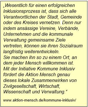 Zitat der Internetseite von Aktion Mensch. www.aktion-mensch.de/kommune-inklusiv/