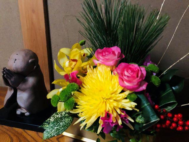 「今年は玄関にお正月のお花が飾れました」