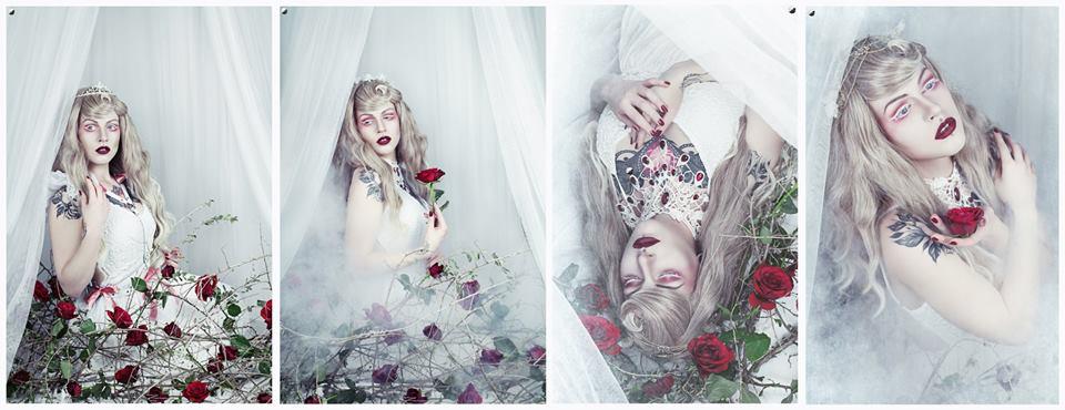 Foto: Strega Art, Model: Miss Nana, Dornröschen, Tropfencollier weiß mit roten Steinen