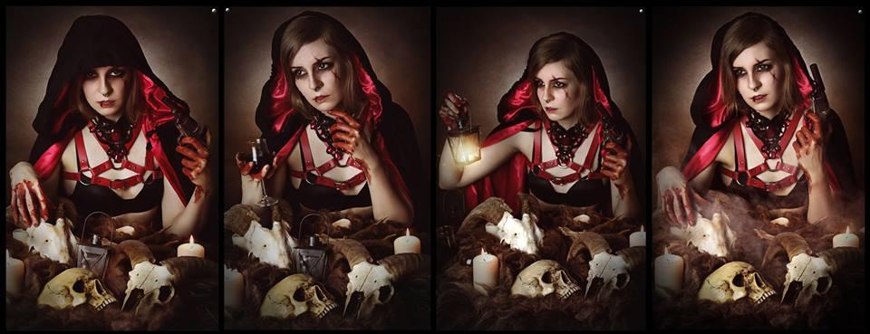 Foto: Strega Art, Model: Anne, Gothic Collier klein mit roten Steinen