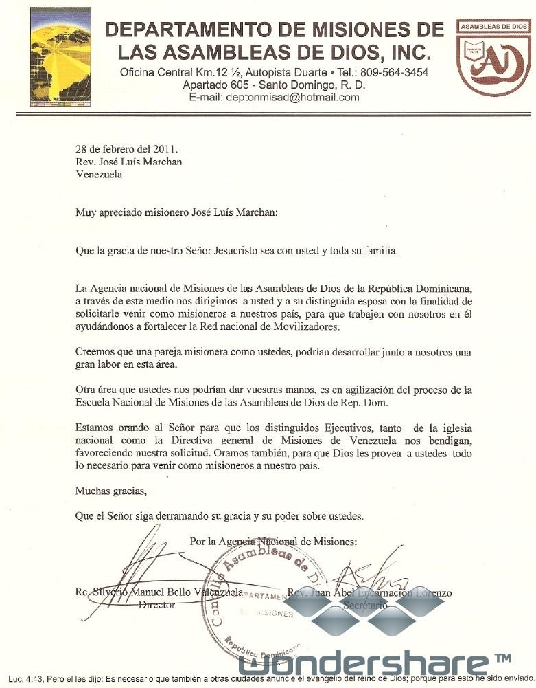 Carta de Invitacion del Concilio Dominicano