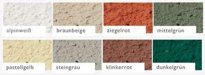 Beispiel Nr. 2R4   Die lieferbaren Aussenputzfarben