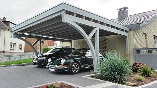 Beispiel-Nr. M-20.2    Das neue Zuhause für Ihre Autos: Doppelcarport MÜNCHEN mit MONZA-Bogenpfosten im Fertig-Zustand.