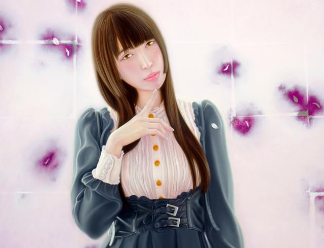 「余白の創造 ... 君と桜舞う一時」/10号P(53.0×41.0cm) 部分/油彩、金箔、アルミ箔、キャンバス、パネル