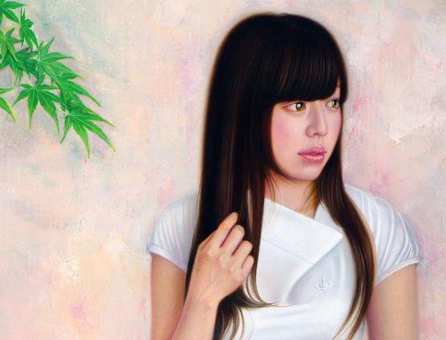 「余白の創造 ... 紅葉と君」 6号P(41.0×27.3cm) 部分 油彩画