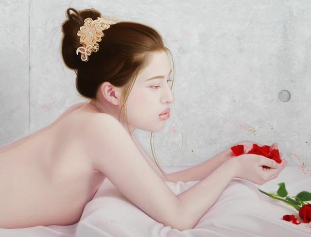 「君と薔薇圖と余白の創造」 100号P(162.0×112.0cm) 部分 油彩画、金箔