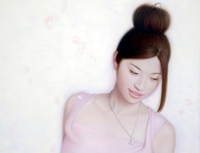 「余白の創造 ... 君と桜舞う一時」 10号P(41.0×53.0cm) 部分 油彩画