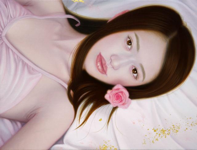 「余白にある…想と君」 3号P(27.3×19.0cm) 部分 油彩画、金箔