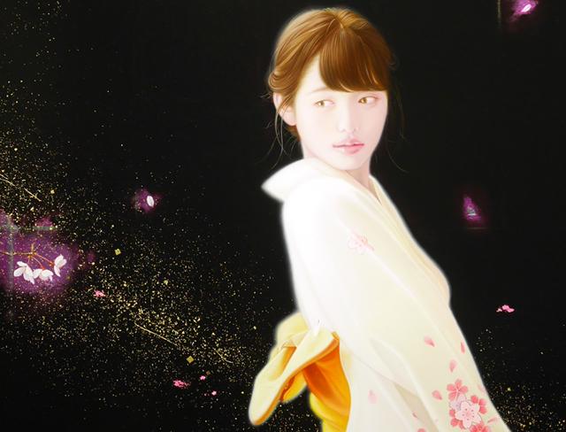 「余白の創造 ... 君と桜舞う一時」 50号P(116.7×58.3cm) 部分 油彩画、金箔、アルミ箔