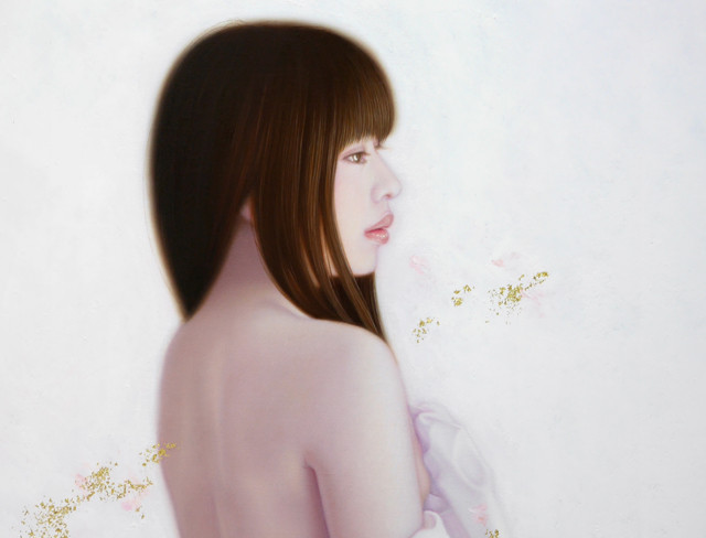 「余白の創造 ... 君と艶」 10号P(53.0×41.0cm) 部分 油彩画、金箔