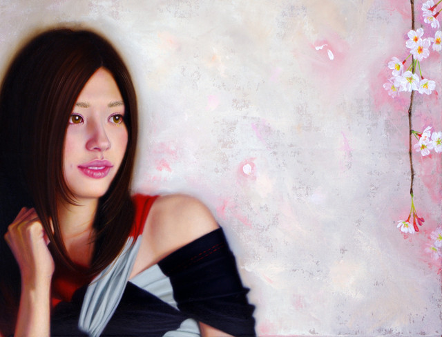 「余白の創造 ... 枝垂桜と君」 4号F(33.3×24.2cm) 部分 油彩画