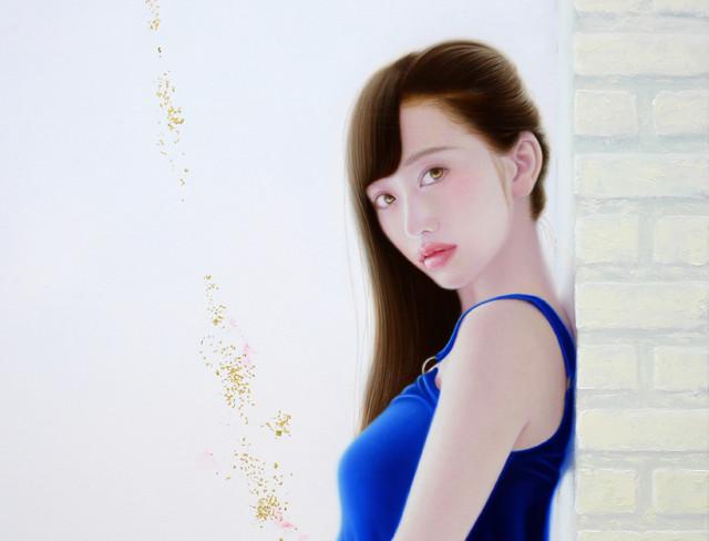 「余白の創造 ... 玲瓏と君」 15号M(45.5×65.2cm) 部分 油彩画、金箔