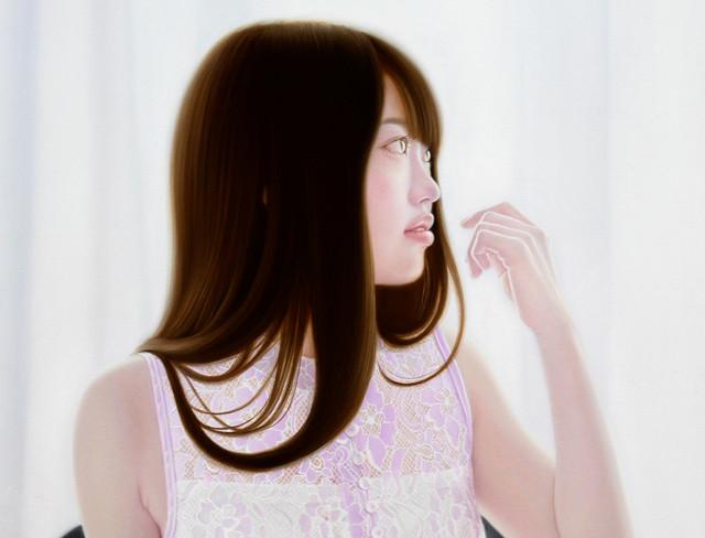 「余白にある ... おだやかな光と君」 20号M(50.0×72.7cm) 部分 油彩画